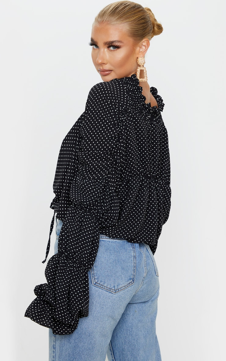 Black Polka Dot Ruched Tiered Blouse 2