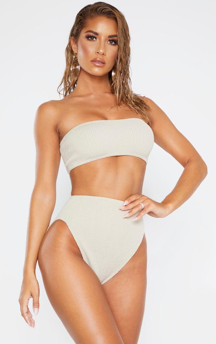 Taupe Crinkle Bandeau Bikini Top 1