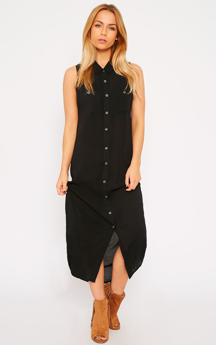 Marja Black Sleeveless Shirt Dress 4