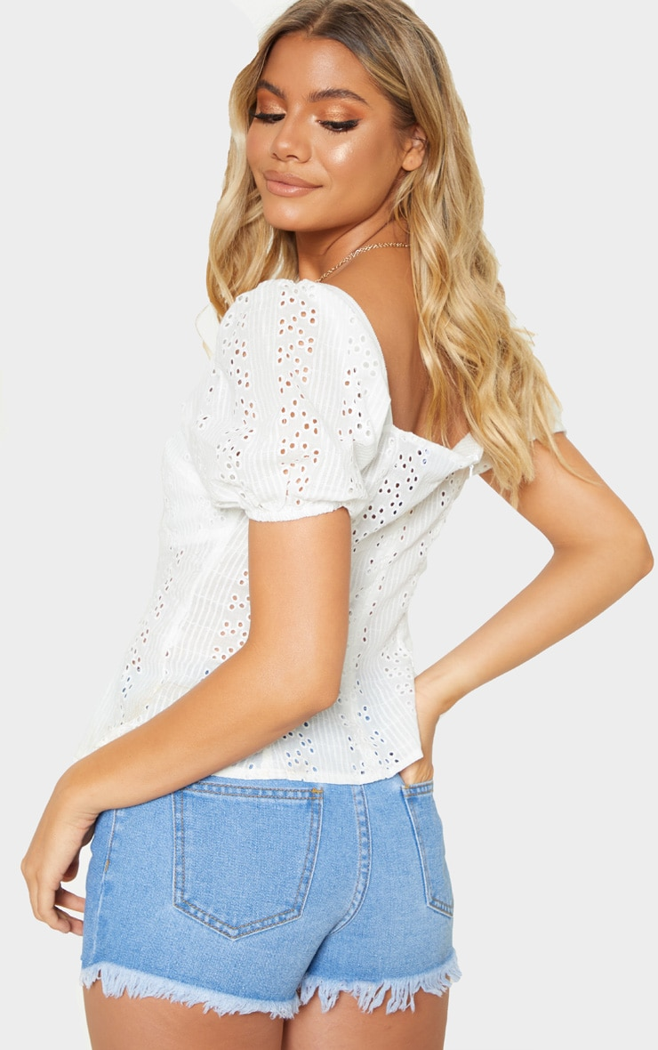 White Broderie Anglaise Puff Sleeve Tie Front Top 2
