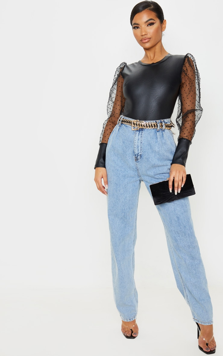 Black Pu Sheer Dobby Mesh Sleeve Bodysuit 5