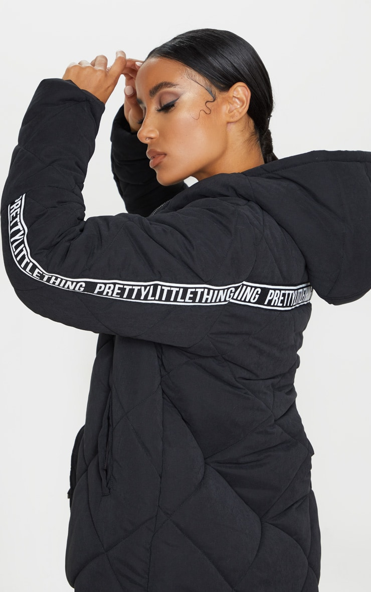 PRETTYLITTLETHING Black Peach Skin Diamond Quilted Oversized Puffer 4