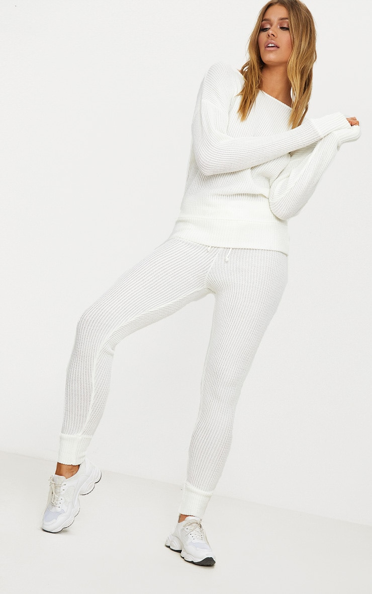 Cream Knitted Rib Jogger Co Ord 5