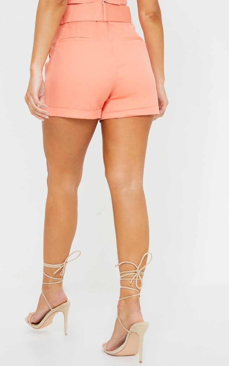 Coral Woven Belted Turn Up Hem Shorts 3