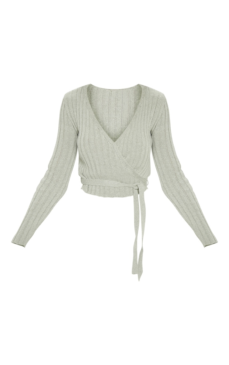 Sage Ribbed Knit Wrap Front Top  3
