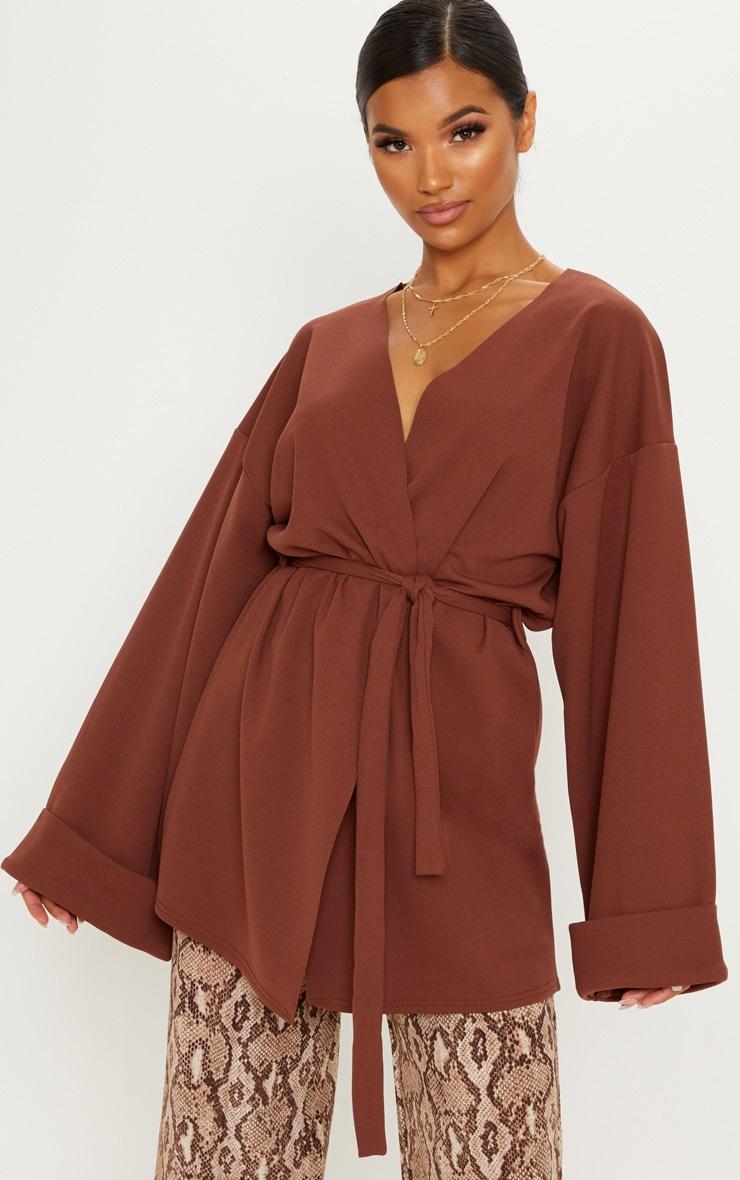 Chocolate Brown Belted Oversized Sleeve Blazer
