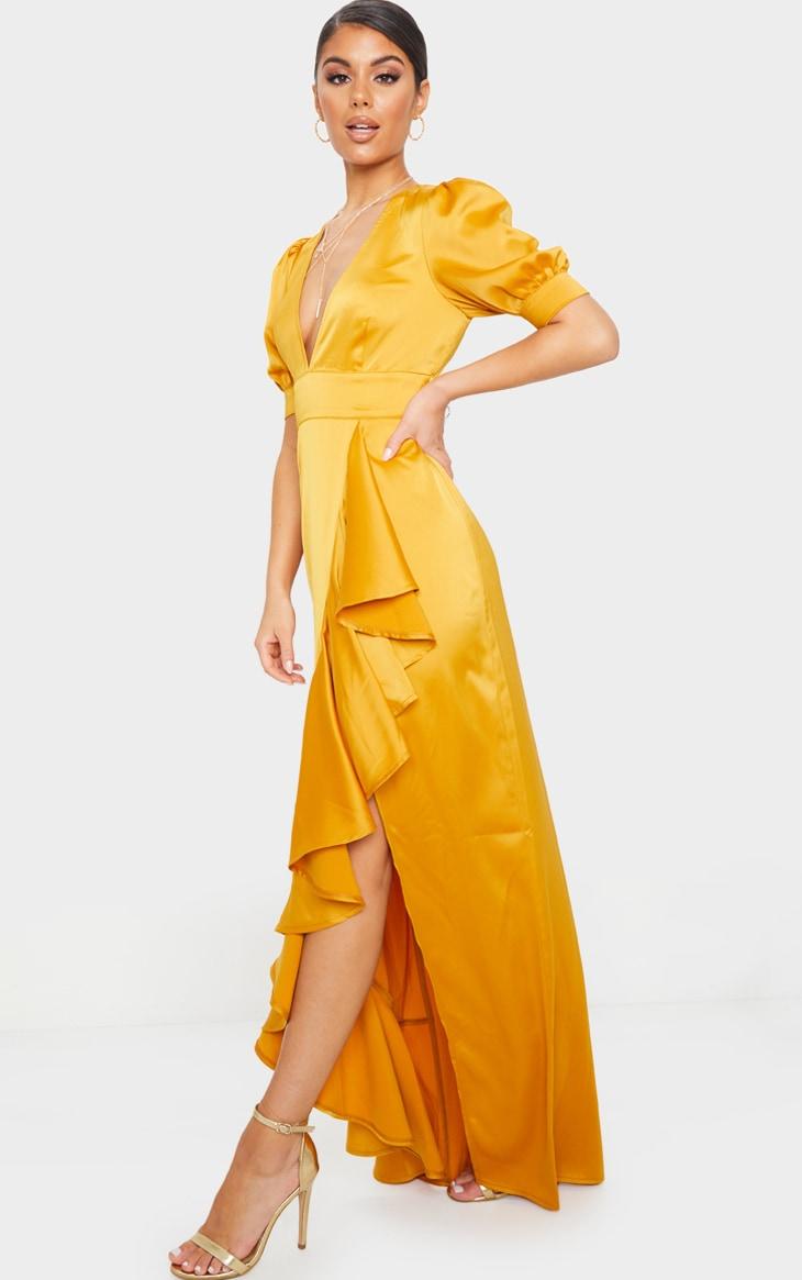 Mustard Satin Short Sleeve Frill Detail Maxi Dress 3