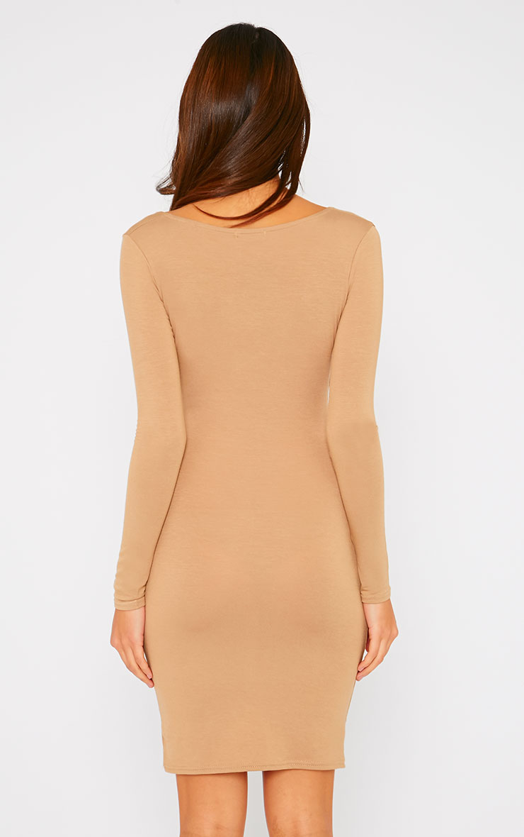 Basic Camel Wrap Dress 2
