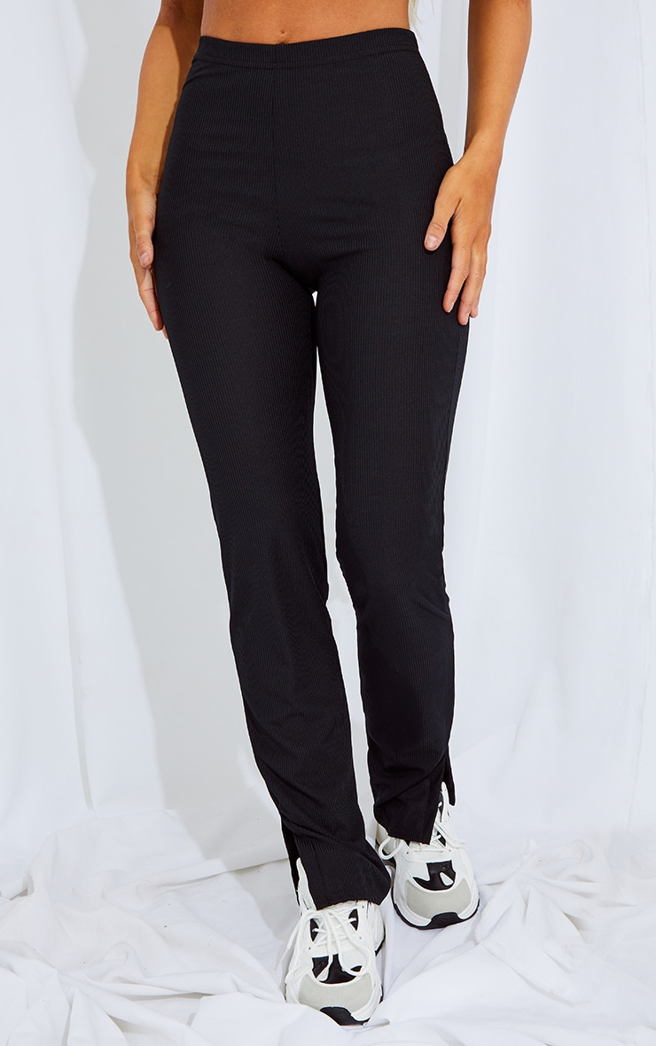 RECYCLED Black Split Hem Trousers 2