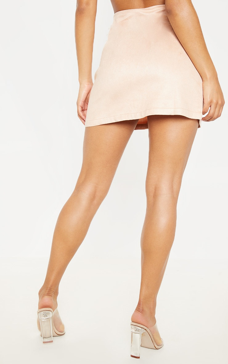 Ziva Blush Faux Suede Lace Up Mini Skirt 4
