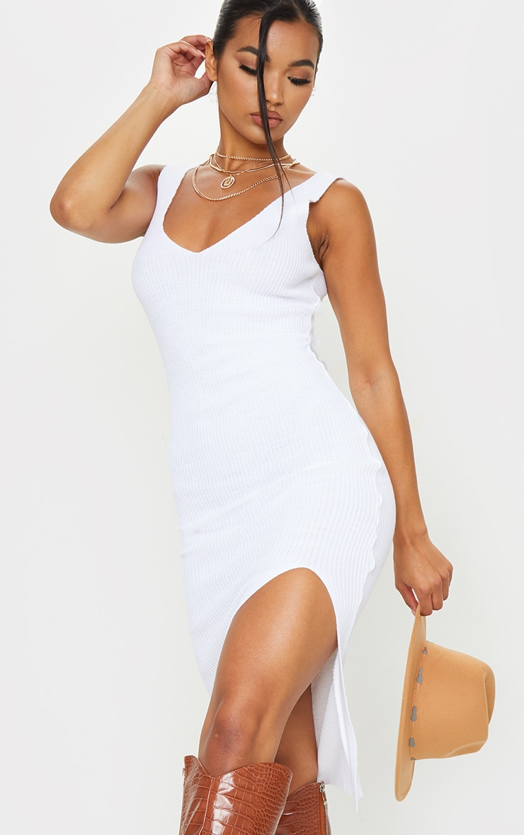 White V Neck Side Split Knitted Midi Dress 4