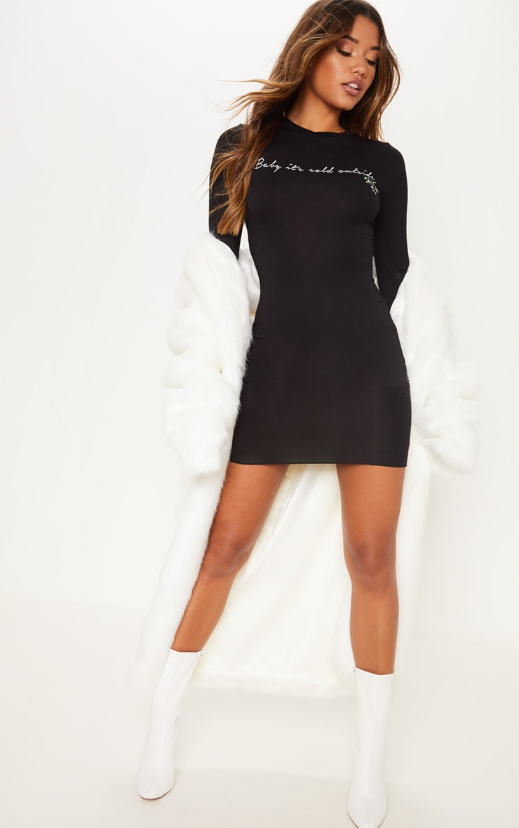 Black Baby Its Cold Outside Bodycon Dress