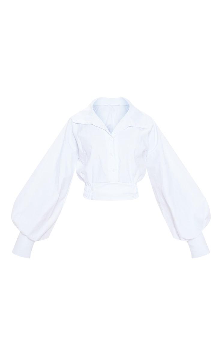 Top en maille blanche à col montant et manches longues 3