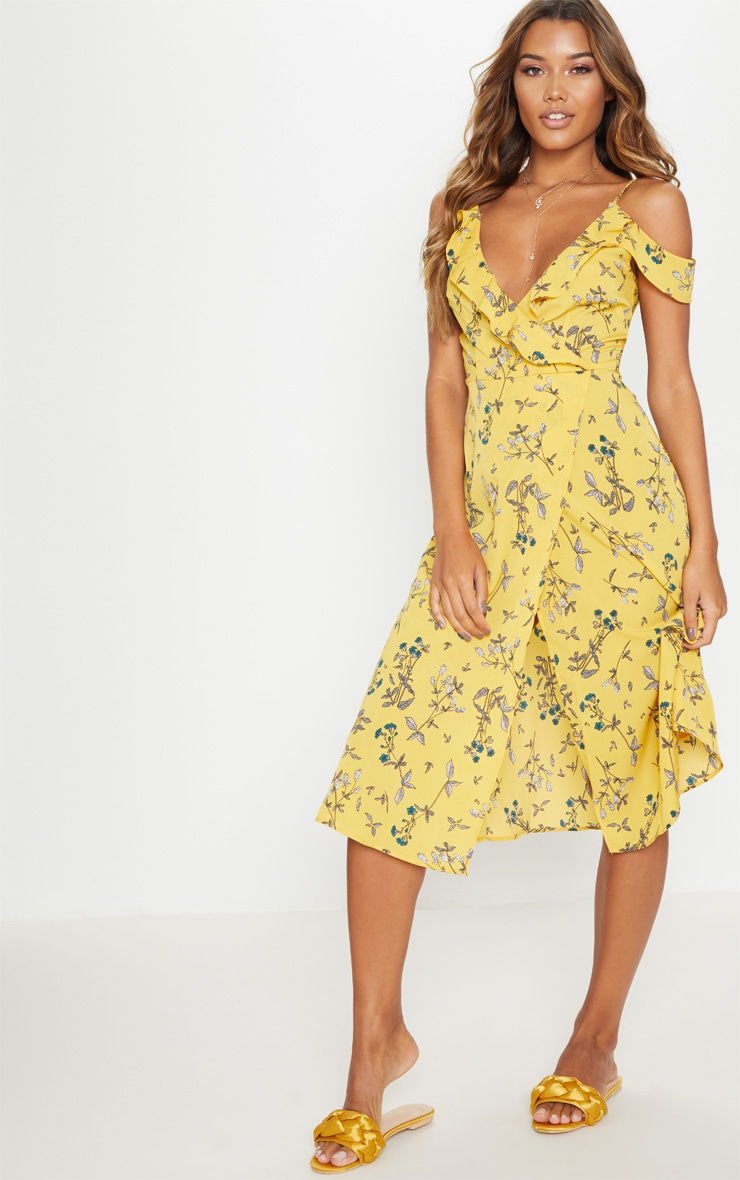 Yellow Floral Cold Shoulder Frill Detail Midi Dress 4