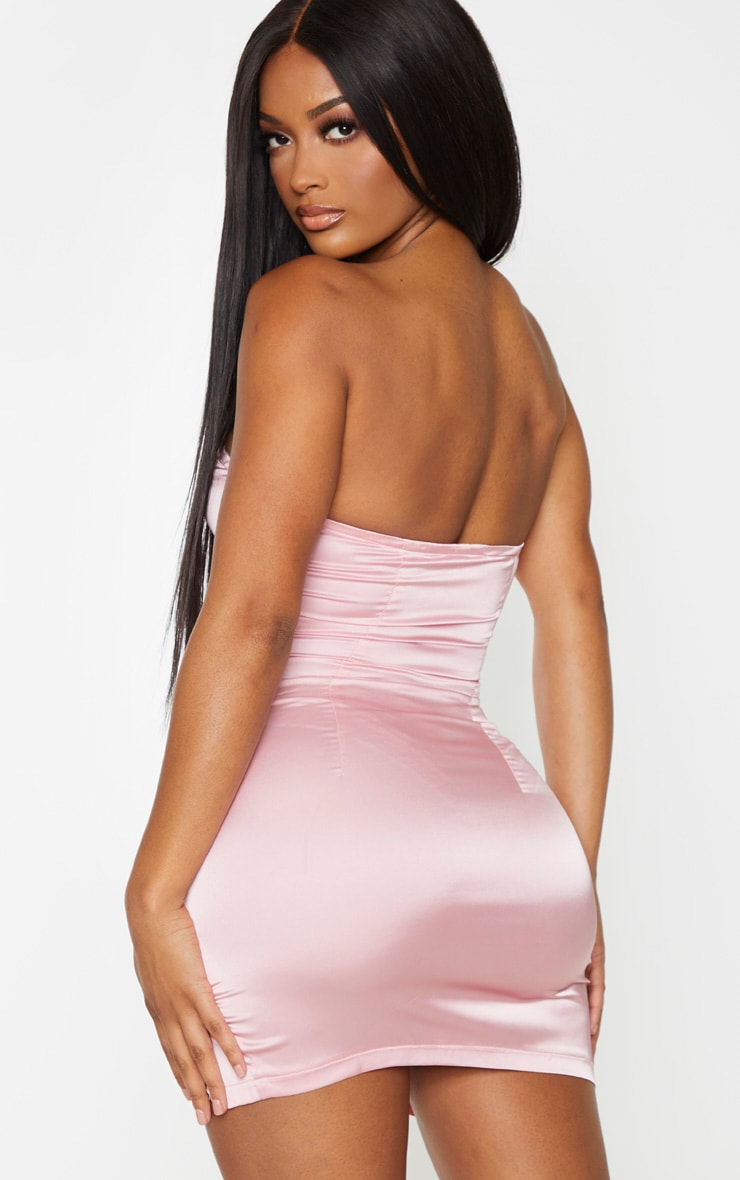 Shape Dusty Pink Satin Cup Detail Bandeau Bodycon Dress 2