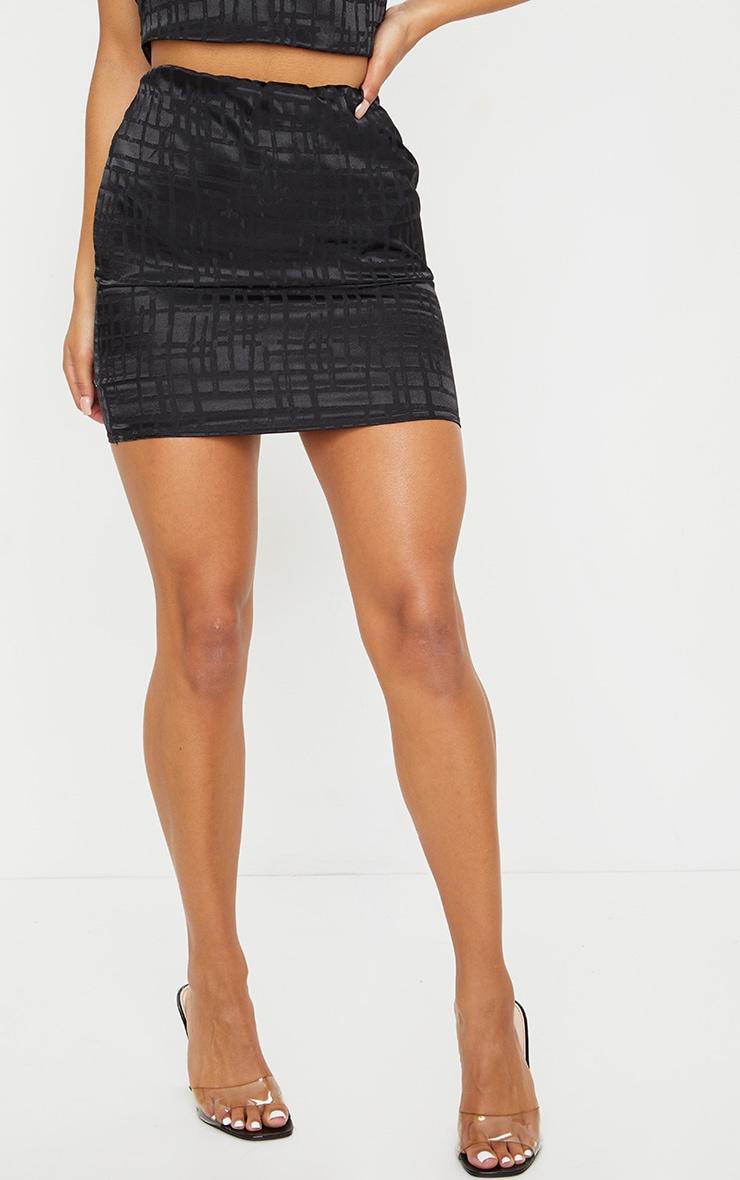 Black Print Satin Mini Skirt 2