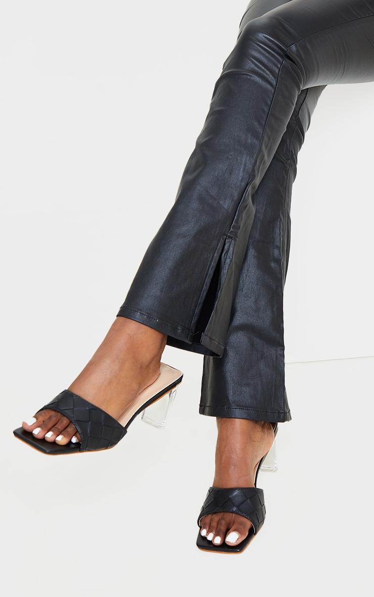 Black Pu Square Toe Plaited Clear Heeled Mules 2