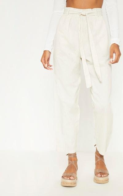 Stone Paperbag Linen Feel Tie Waist Detail Trouser
