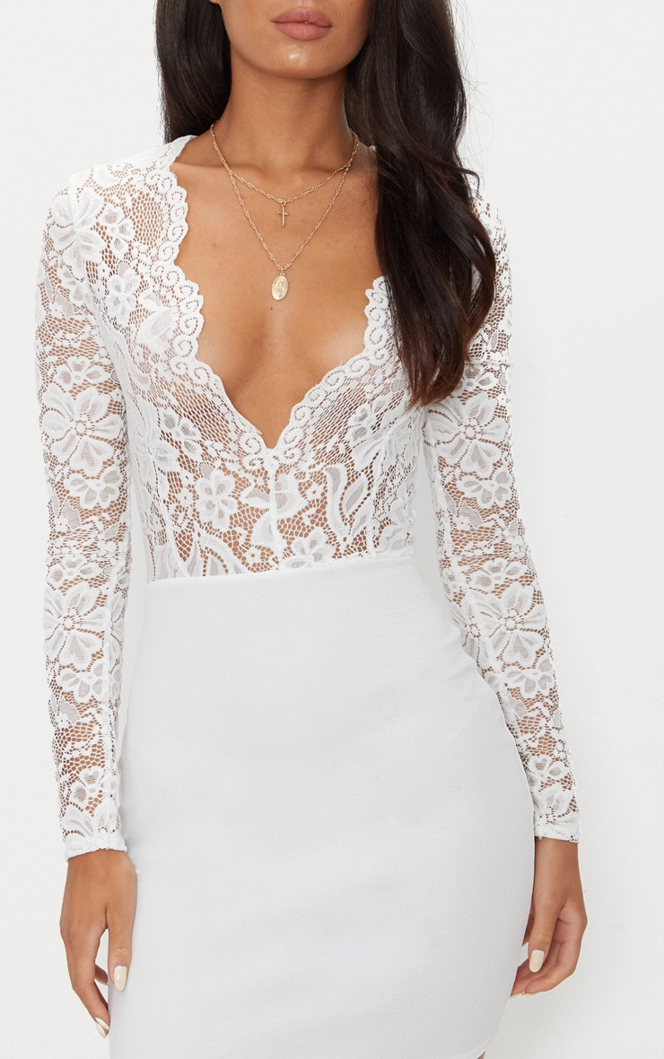 White Lace Top Long Sleeve Bodycon Dress 5