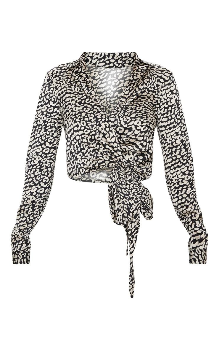 Avalyn Black Leopard Wrap Front Tie Side Blouse 3