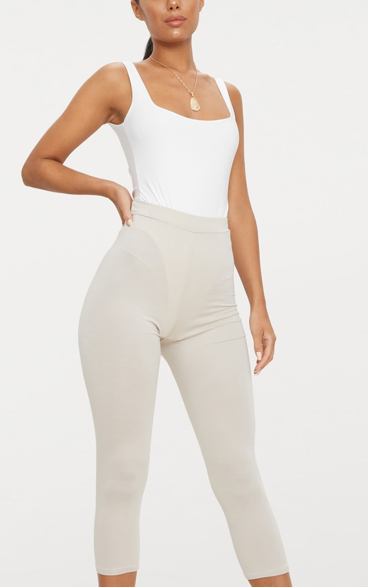 Stone Basic Cropped Jersey Leggings  5
