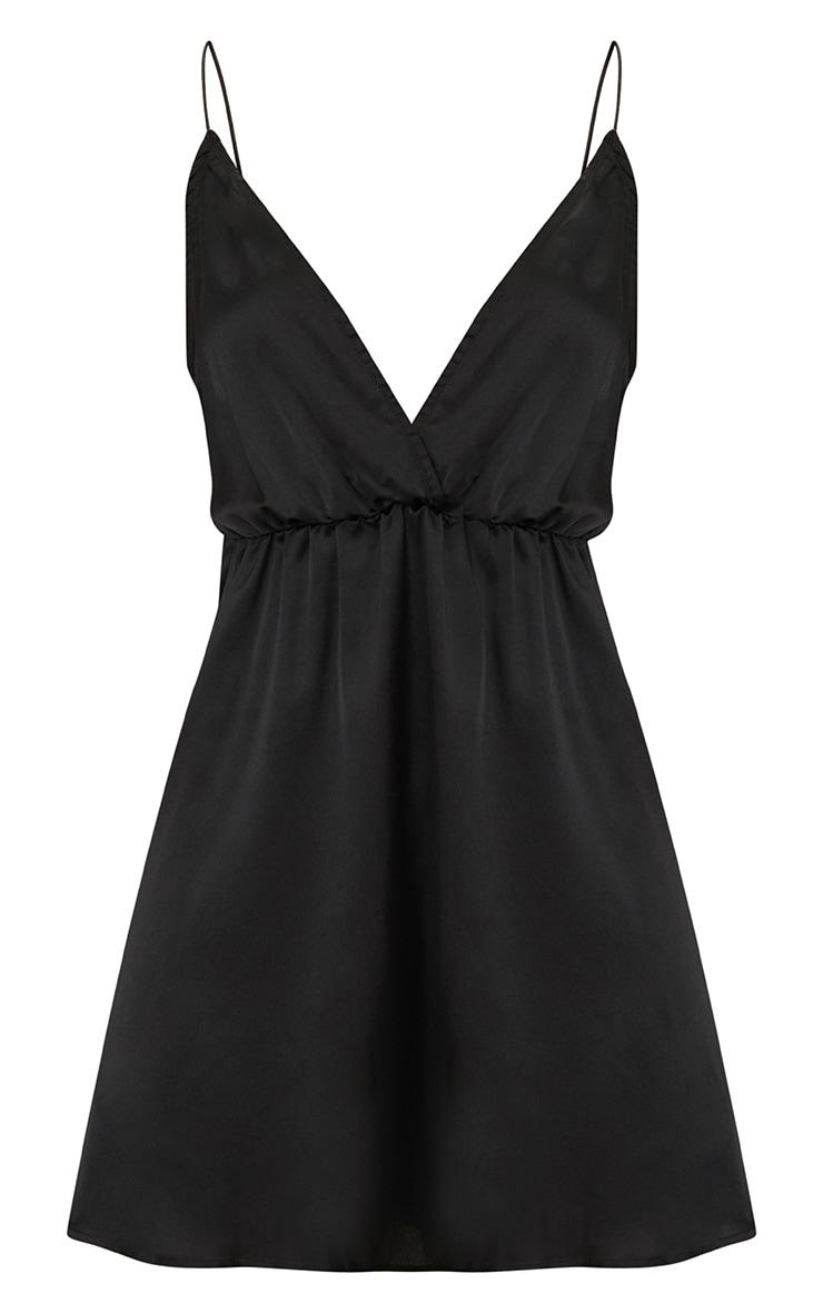 Black Satin Extreme Plunge Shift Dress 3