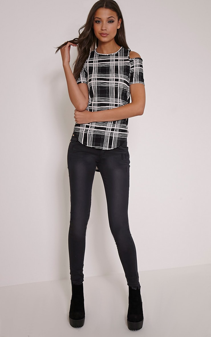 Anora Monochrome Checked Cold Shoulder Dip Hem Top 4