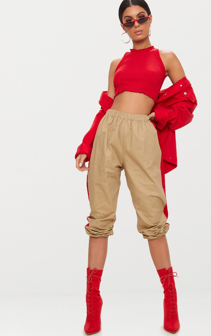 Red Rib Frill Detail High Neck Crop Top 4