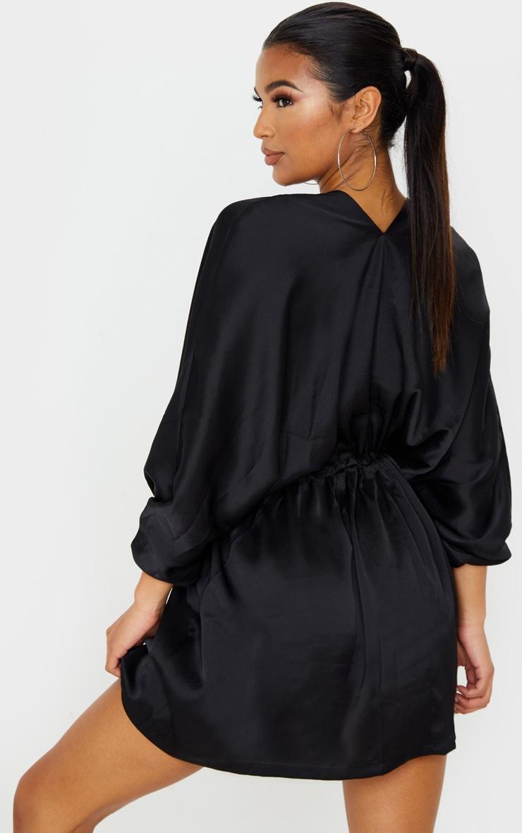 Black Textured Woven Plunge Tie Waist Skater Dress 2
