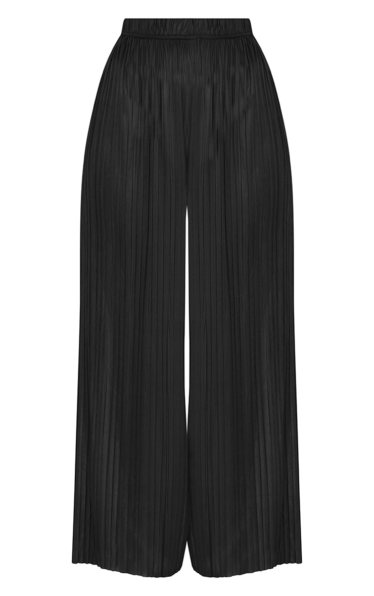 Loredana Black Soft Pleated Sheer Cropped Trousers 3