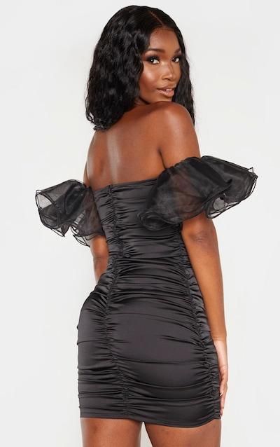 Black Satin Ruched Ruffle Chiffon Sleeve Bodycon Dress