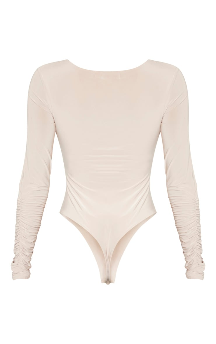 Sand Slinky Ruched Long Sleeve Bodysuit 6