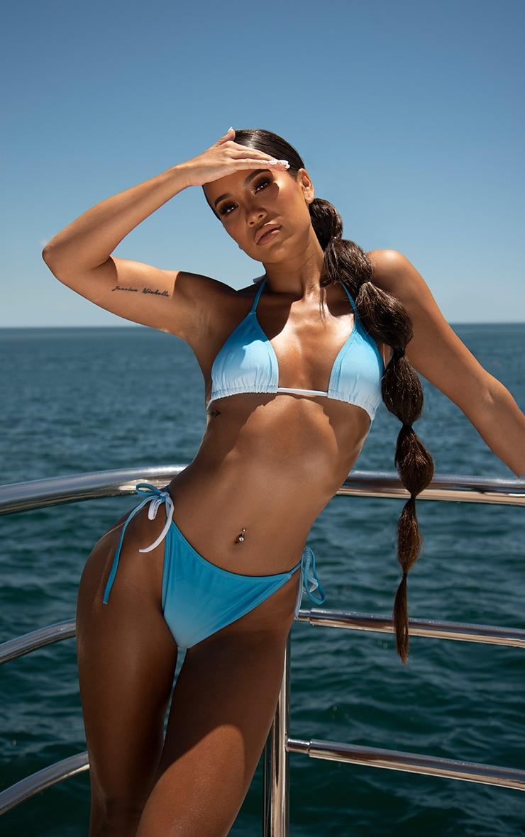 Blue Ombre Padded Triangle Bikini Top 1