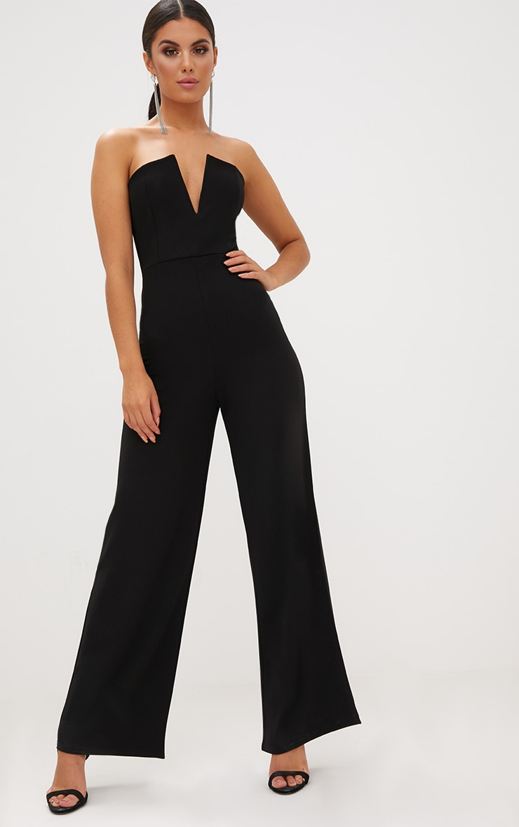 0bb5d664e580 Black Crepe V Neck Bandeau Wide Leg Jumpsuit. Jumpsuits   Playsuits ...