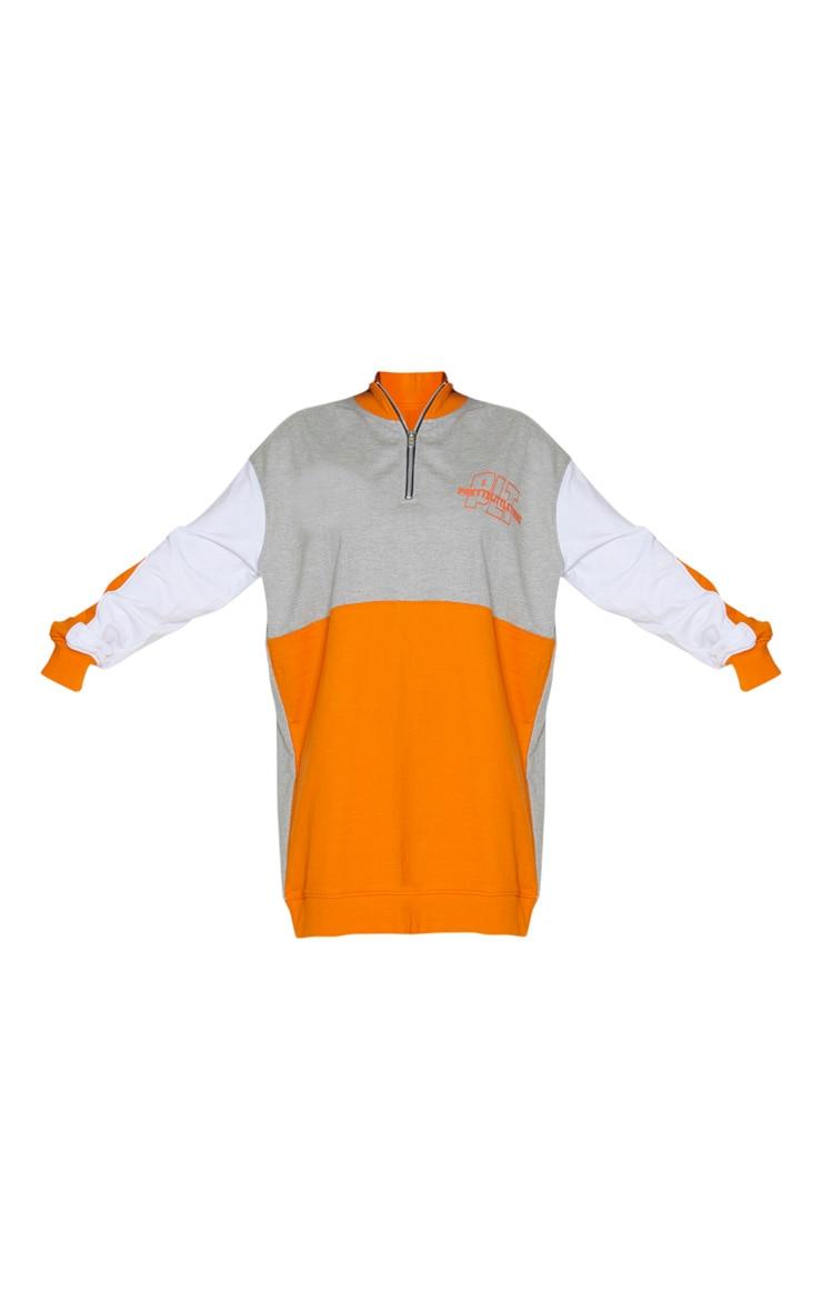 PRETTYLITTLETHING Grey Contrast Colour Detail Zip Neck Jumper Dress 5