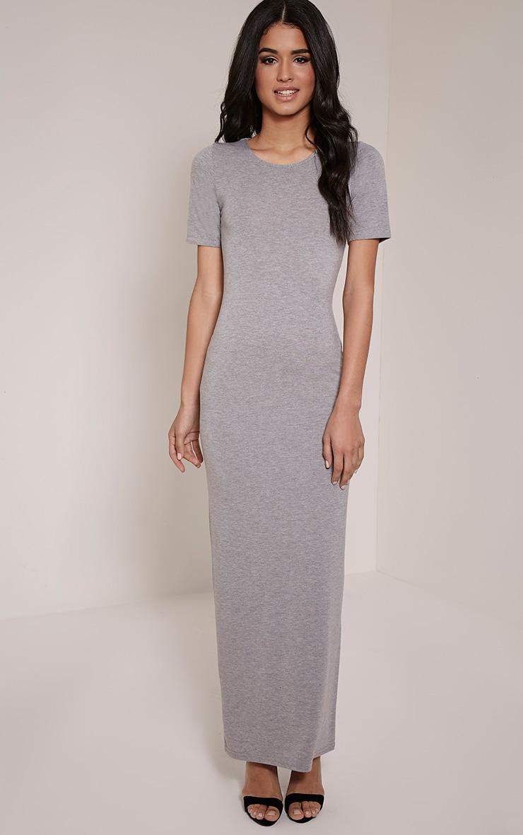 Basic Greymarl Round Neck Maxi Dress 4