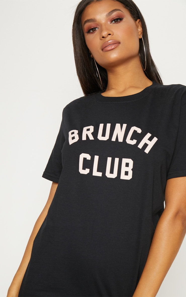 Black Brunch Club Slogan Oversized T Shirt 5