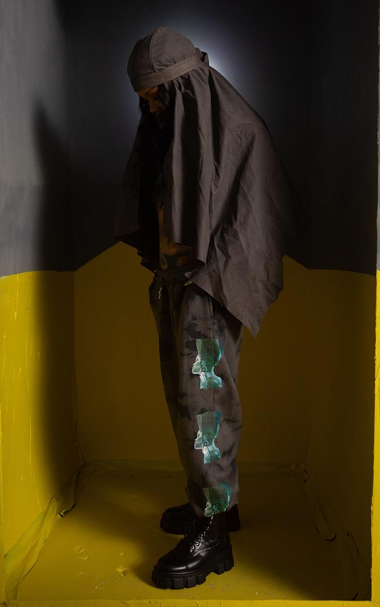 Jogging gris tie & dye imprimé statue 1