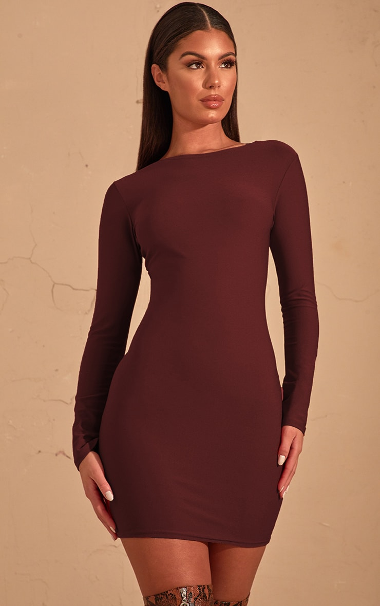 9751b1478565 Chocolate Brown Long Sleeve Bodycon Dress image 1