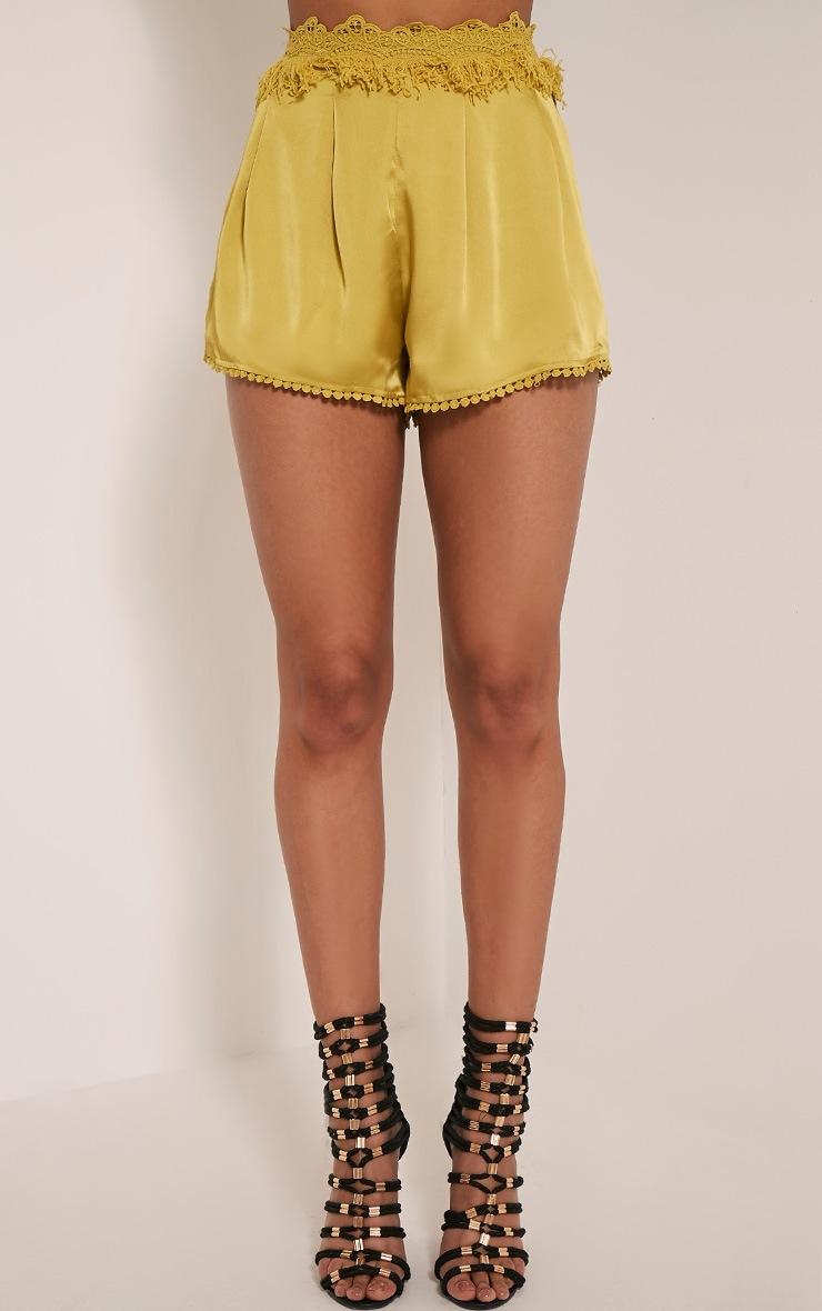 Kori Olive Fringe Waist Satin Shorts 3