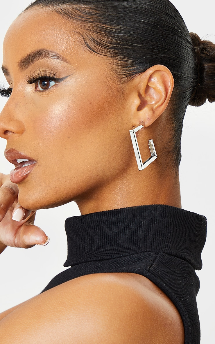 Silver Chunky Square Assorted 3 Pack Hoop Earrings 3