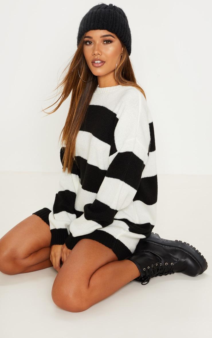 Monochrome Striped Oversized Jumper Dress 2