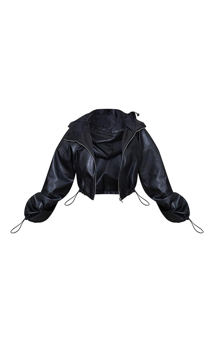 Black PU Hooded Cropped Windbreaker 5