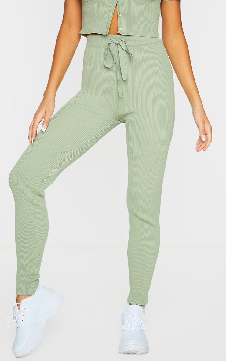 Sage Green Ribbed Knitted Tie Waist Joggers 2