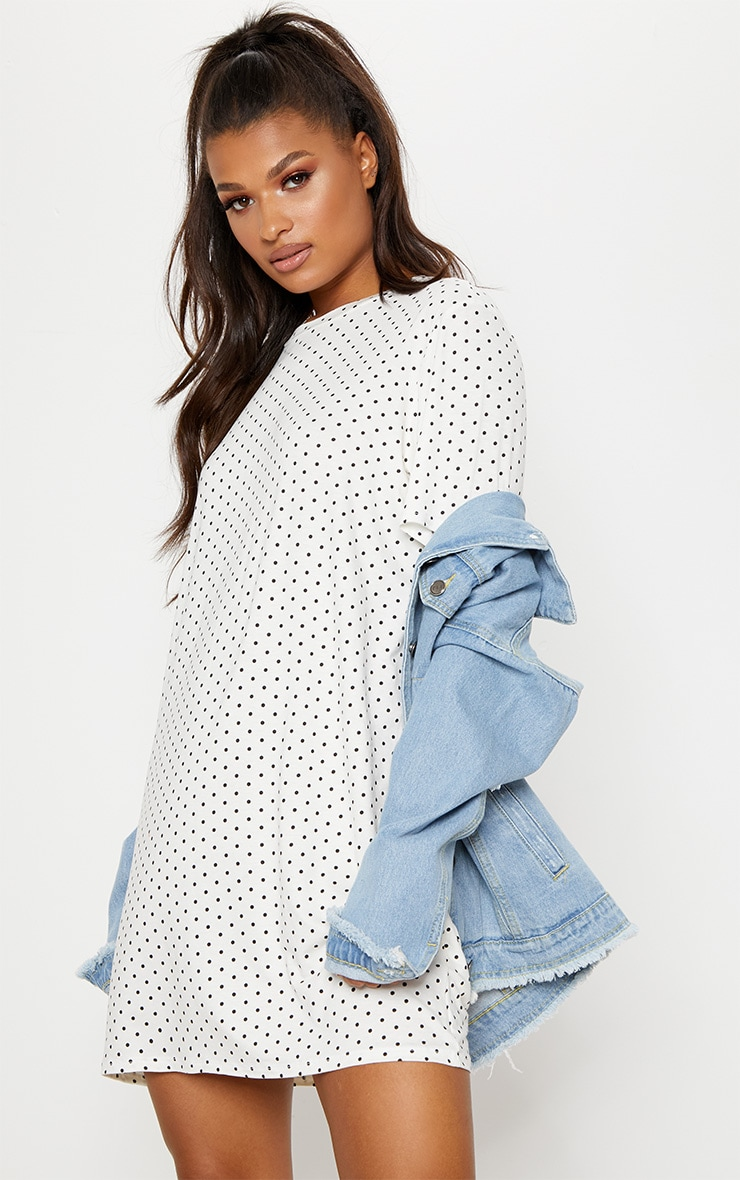 White Polka Dot Oversized T Shirt Dress 1