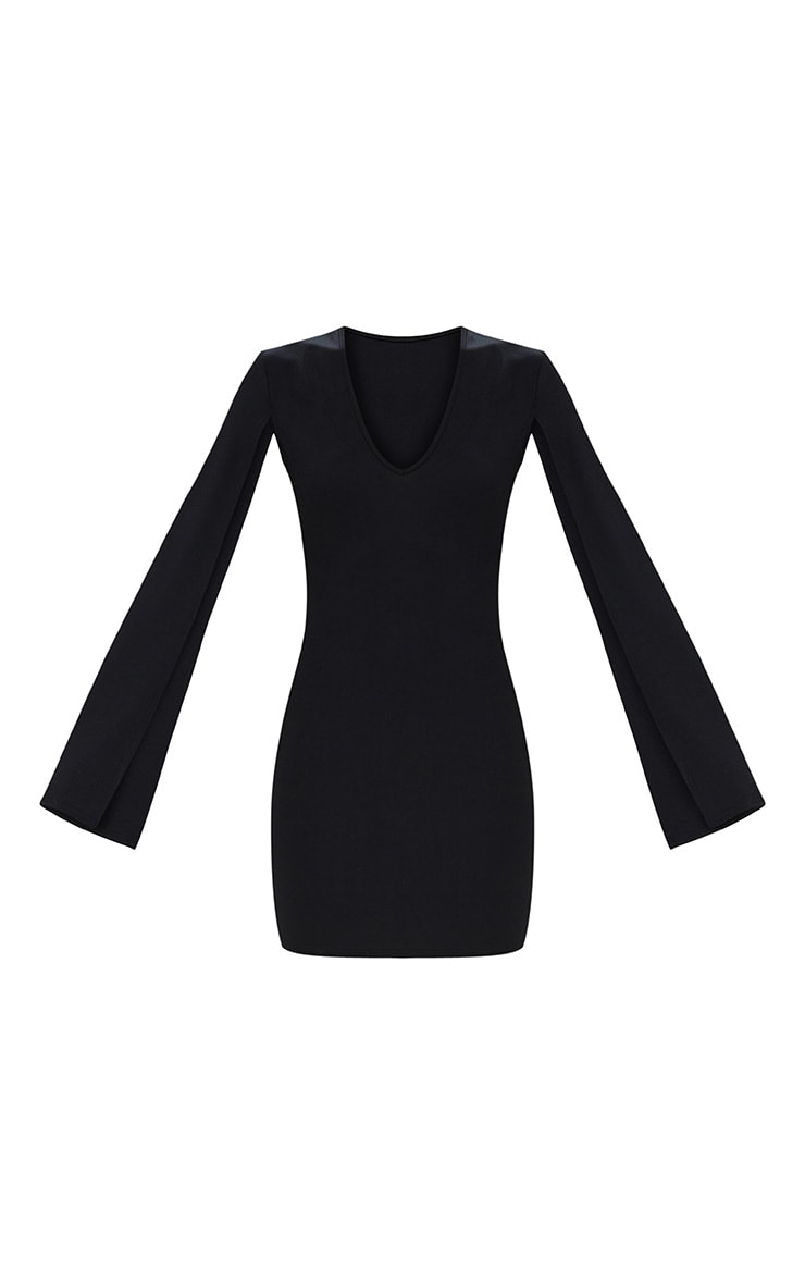 Black Split Arm Bodycon Dress 3