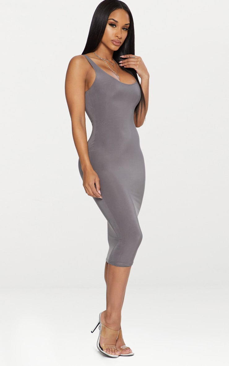 Charcoal Grey Second Skin Slinky Scoop Neck Midi Dress 3