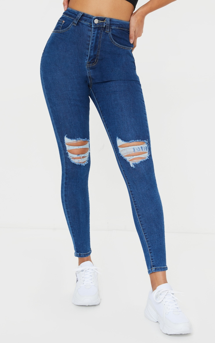 PRETTYLITTLETHING Mid Blue Knee Rip 5 Pocket Skinny Jean 2