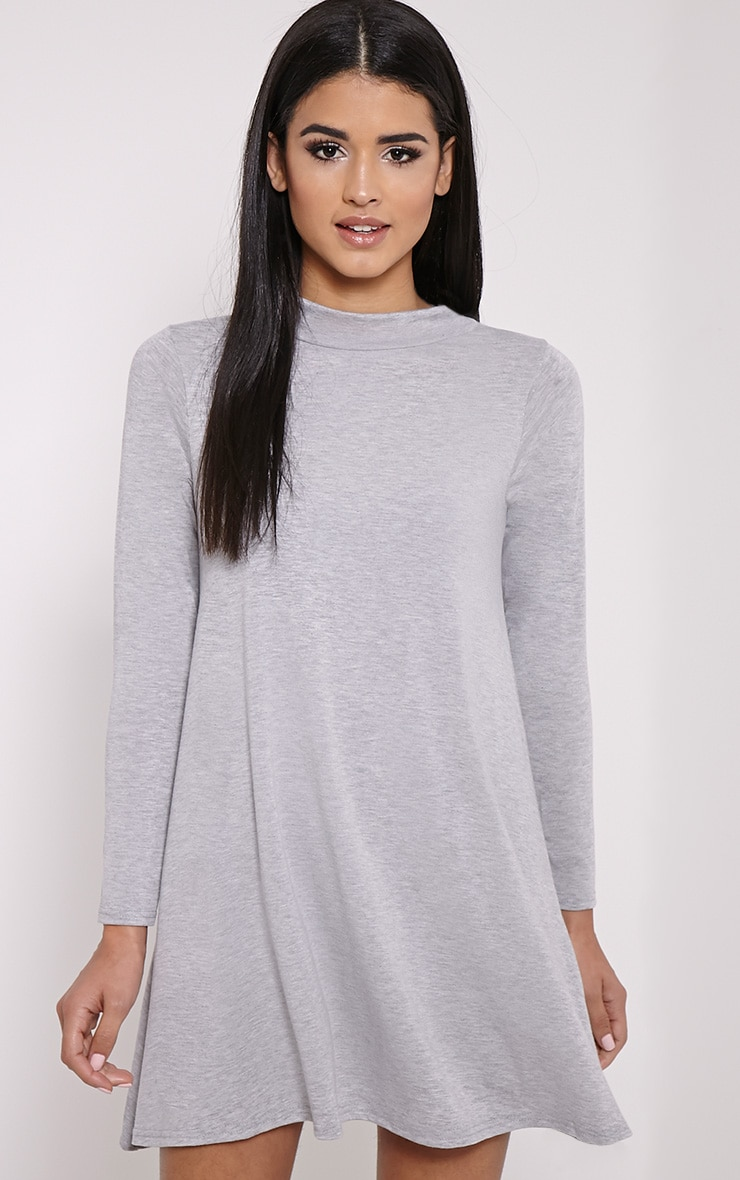 Basic Marl Grey Long Sleeved Jersey Swing Dress 1