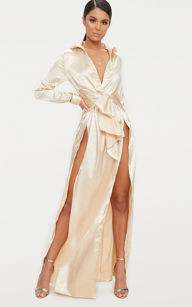 Champagne Satin Extreme Split Waist Tie Shirt Maxi Dress  1